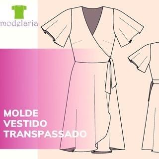 Molde vestido envelope com manga godê, TAM 36 ao 46. Cristiane Lára