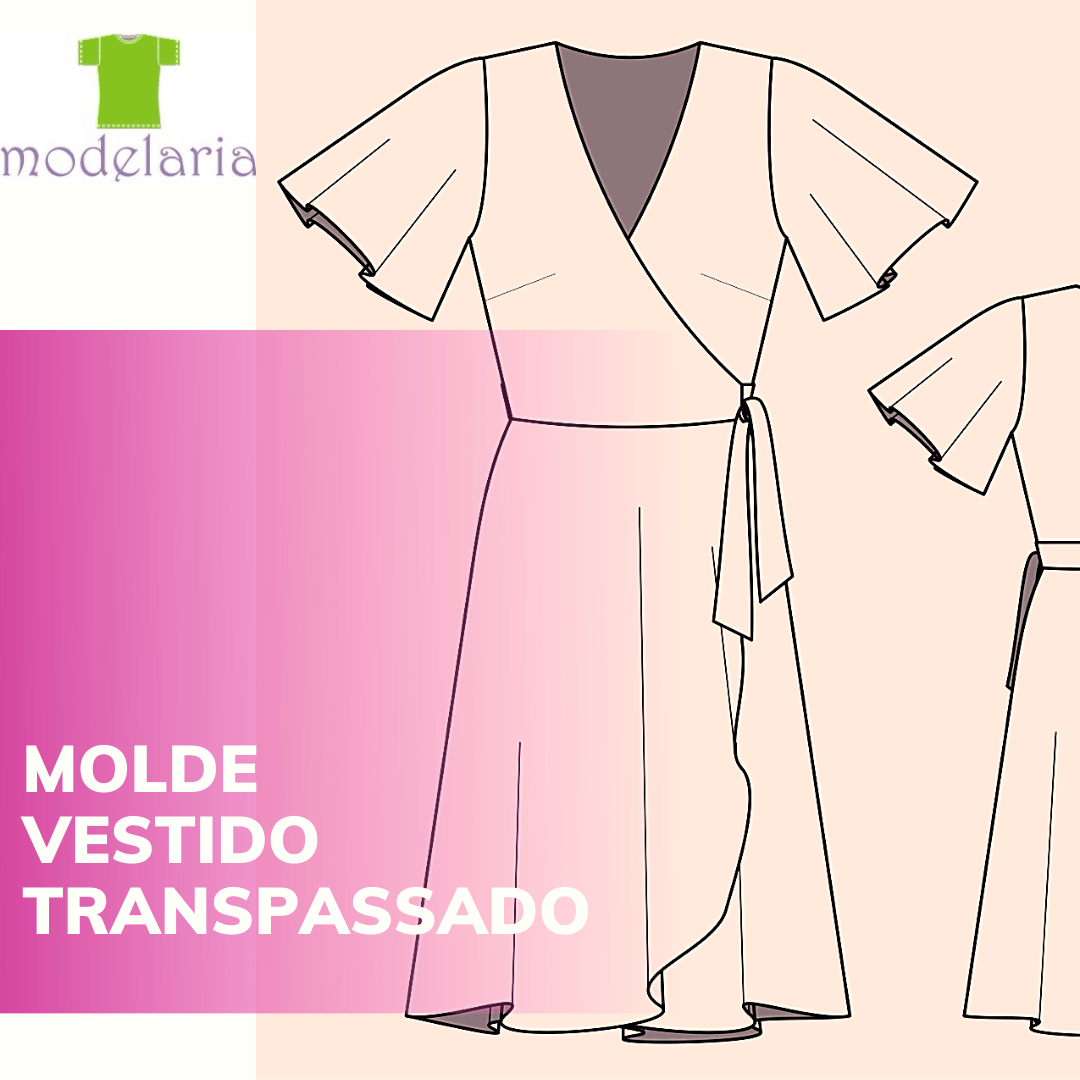 Molde vestido envelope com manga godê, plus size, TAM 46 ao 54. Cristiane Lára