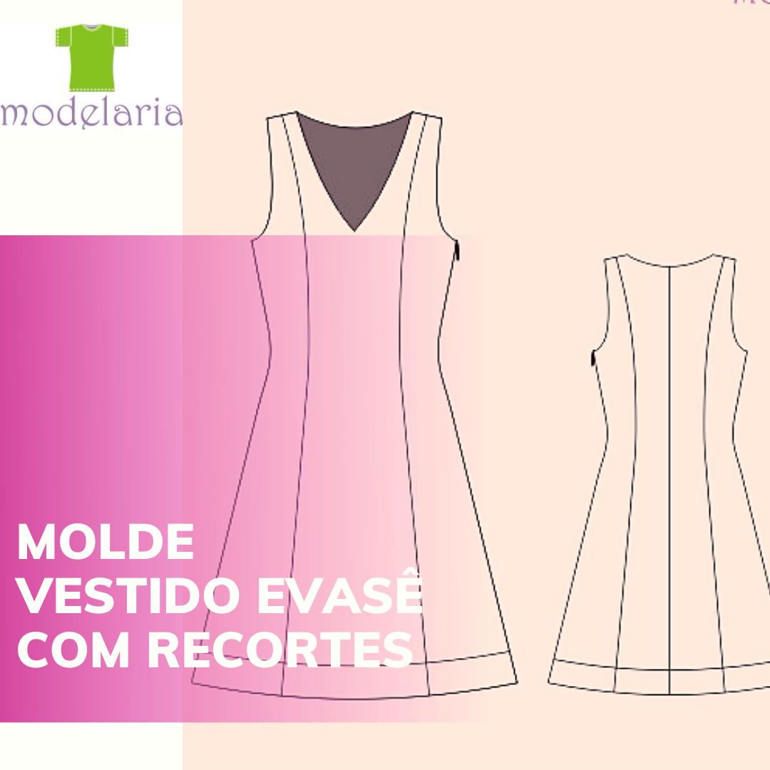 Molde vestido evasê com recortes, plus size, TAM 46 ao 54. Cristiane Lára
