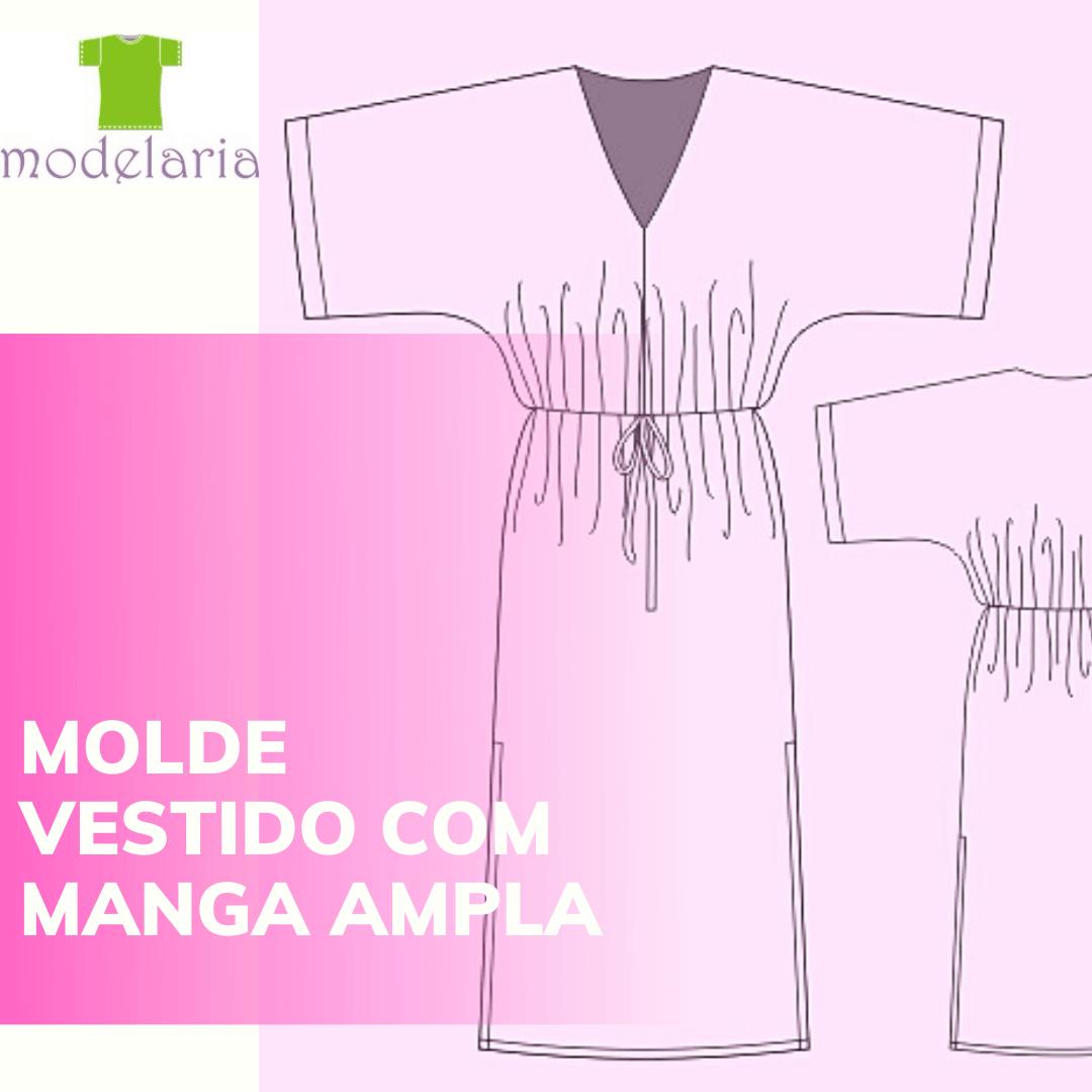 Molde vestido longo com manga japonesa, fendas e elástico na cintura, TAM 36 ao 46. Cristiane Lára