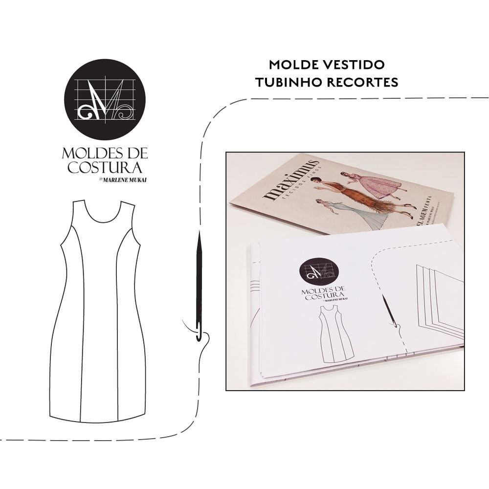 Molde vestido tubinho recortes TM 38 ao 44 -by Marlene Mukai