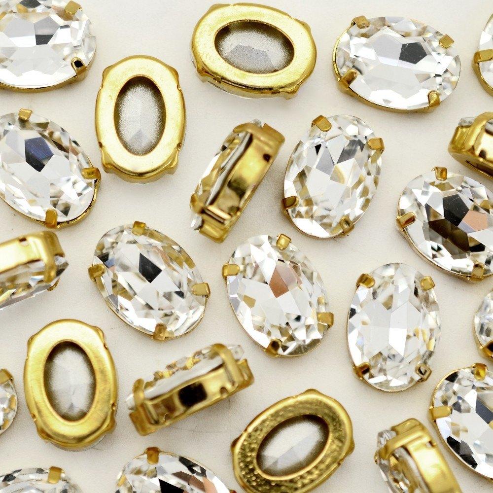 Oval Engrampado para costura Supreme Cristal Dourado 10x8mm 72 peças
