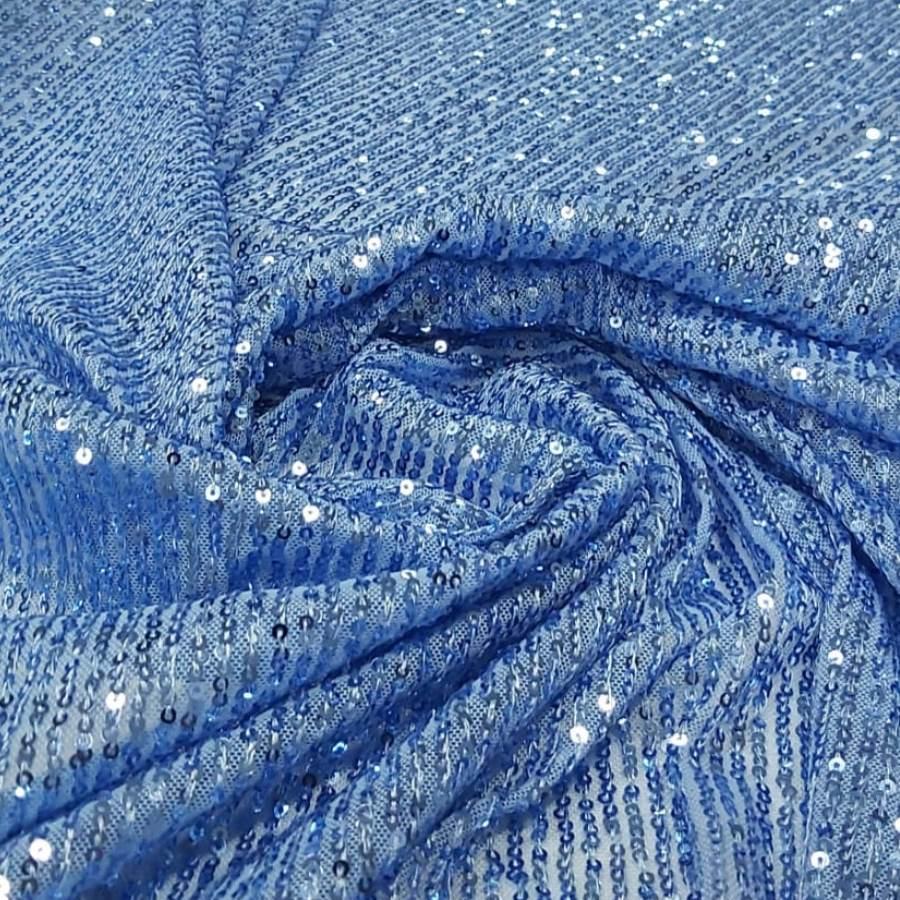 Paetê Bordado Glamour com Elastano Azul Serenity