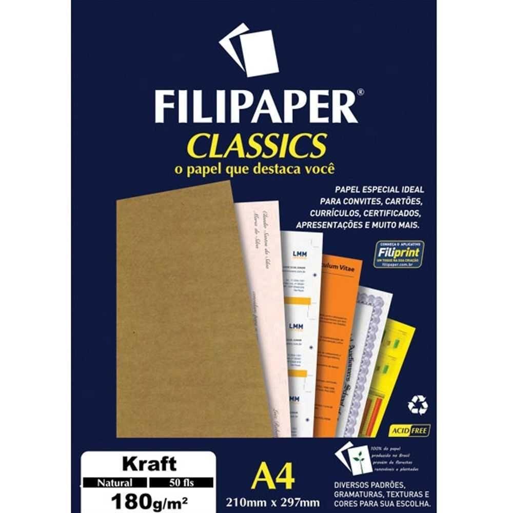 Papel Filipaper Classics Kraft Natural - A4 180g  - 50 folhas