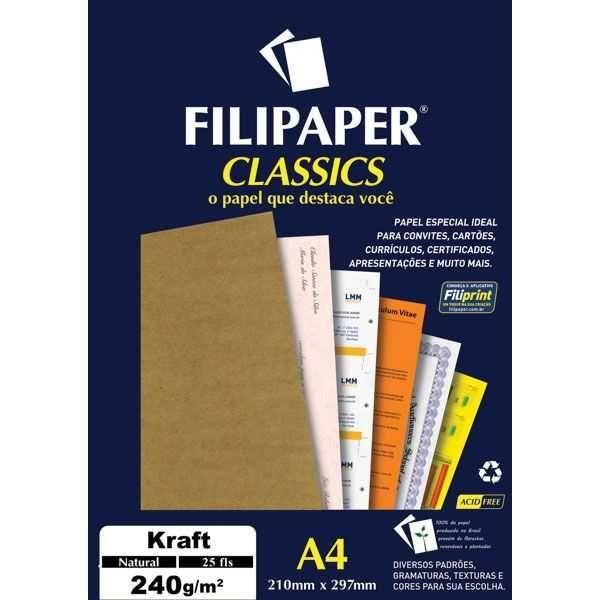 Papel Filipaper Classics Kraft Natural - A4 240g  - 25 folhas