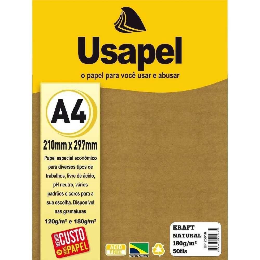 Papel Usapel Kraft Natural 180g A4 - 50 Folhas