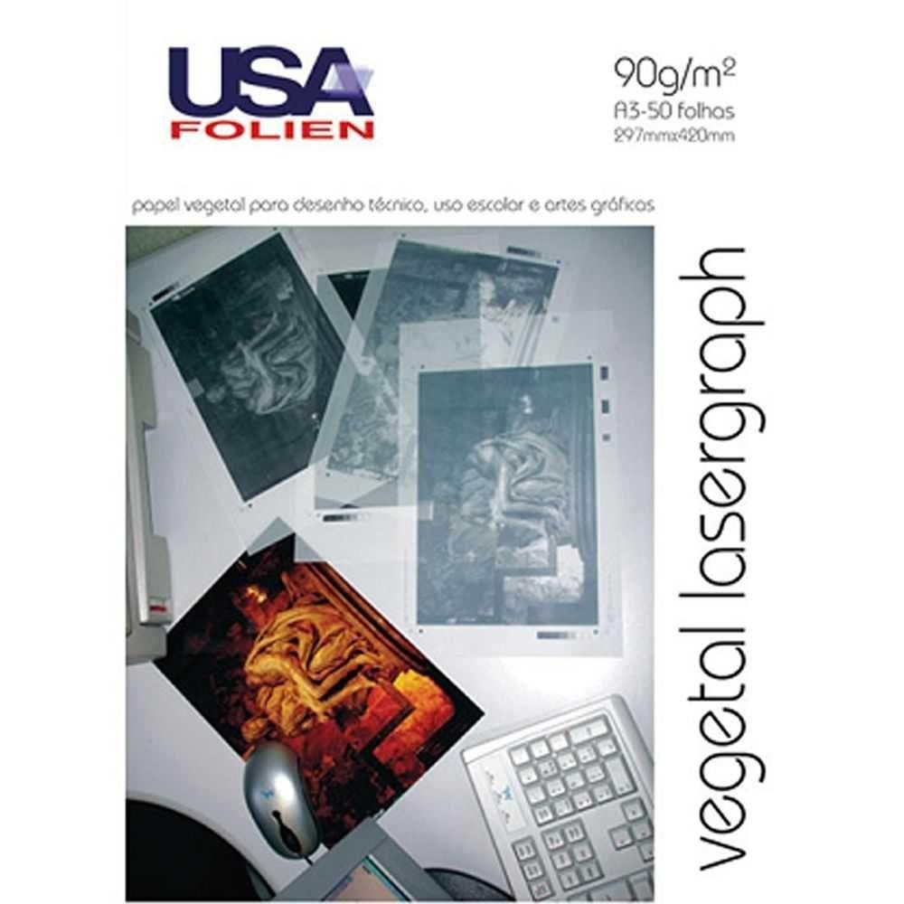 Papel Vegetal Lasergraph A3 90g/m² USA Folien 50 Folhas