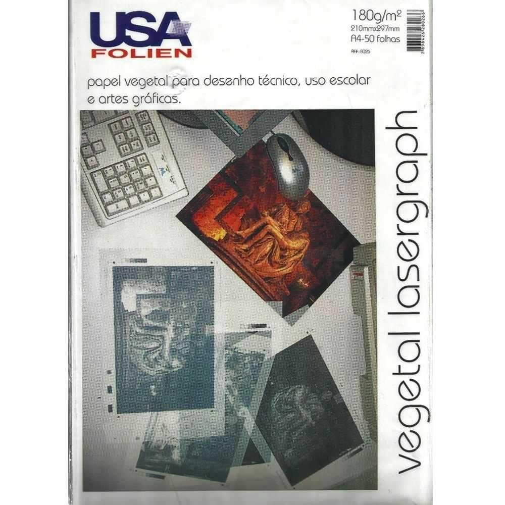 Papel Vegetal Lasergraph A4 180g/m² USA Folien 50 Folhas