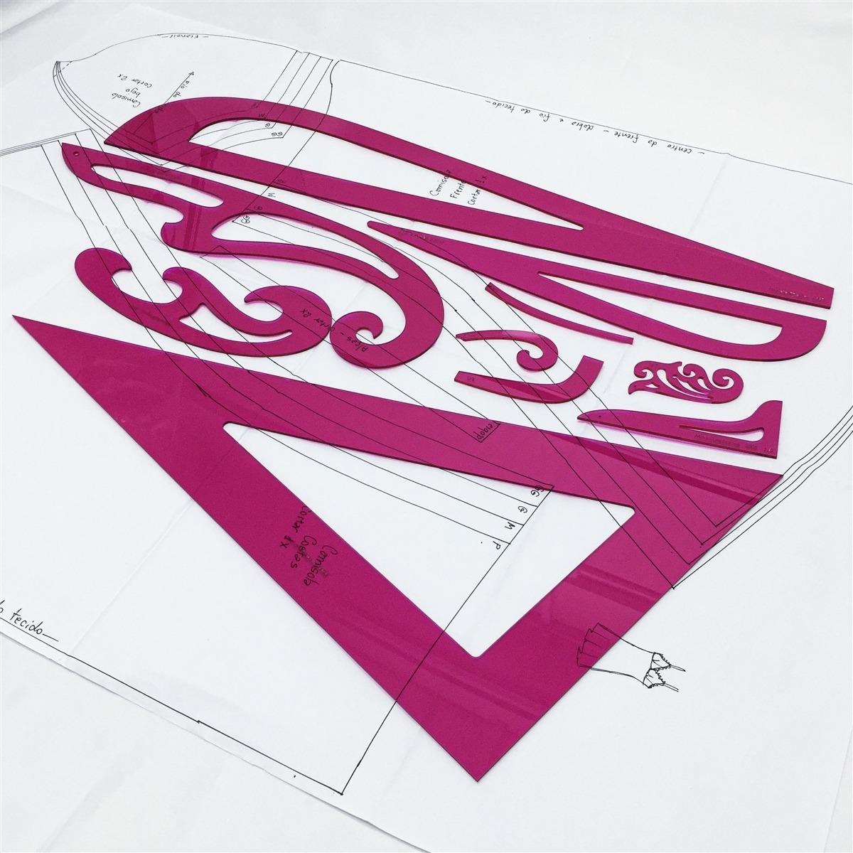 Réguas de modelagem - Kit 10 und. Acrílico pink