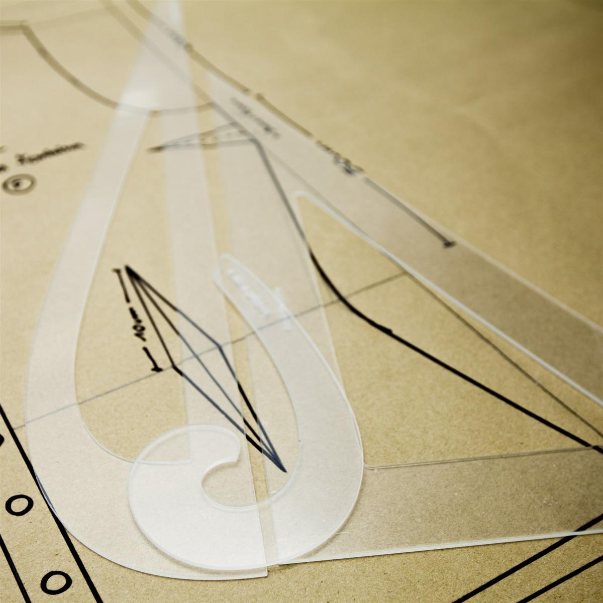 Réguas de modelagem - Kit C Vírgula, Esquadro 60, C Alfaiate