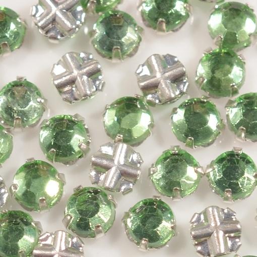 Strass Chaton Rose Engrampado para costura LDI Cristais® Peridot Níquel SS16 = 3,80mm 144 peças