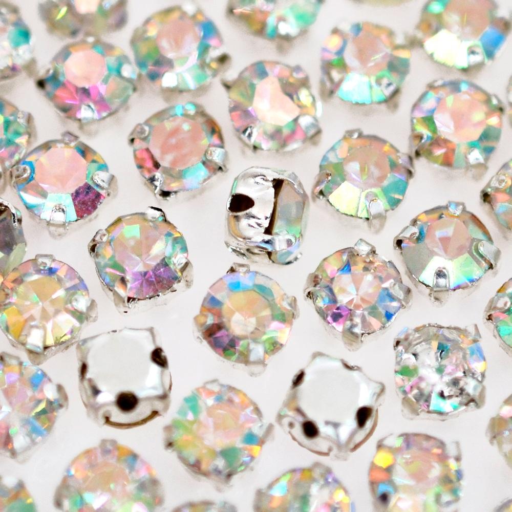 Strass Engrampado para costura Supreme Cristal Aurora Boreal Níquel SS16 = 3,80mm 144 peças
