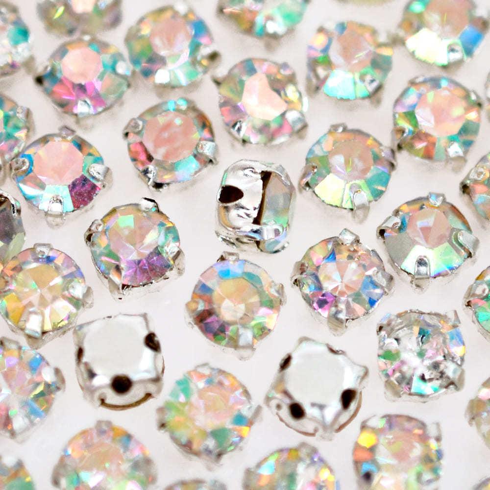 Strass Engrampado para costura Supreme Cristal Aurora Boreal Níquel SS20 = 4,60mm 72 peças