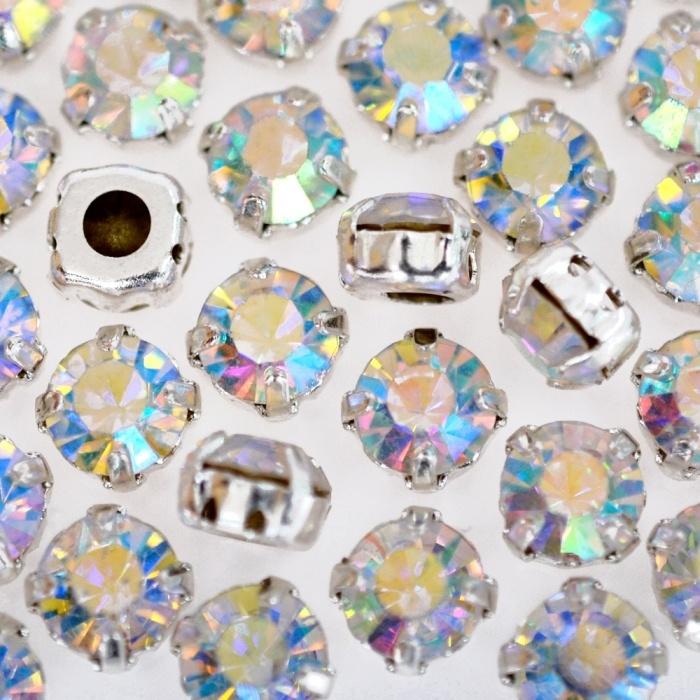 Strass Engrampado para costura Supreme Cristal Aurora Boreal Níquel SS30 = 6,40mm 36 peças