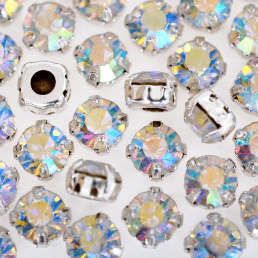 Strass Engrampado para costura Supreme Cristal Aurora Boreal Níquel SS34 = 7,00mm 24 peças