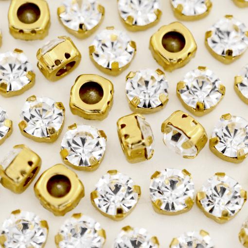 Strass Engrampado para costura Supreme Cristal Dourado SS30 = 6,30mm 36 peças