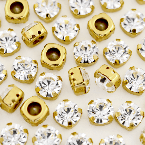 Strass Engrampado para costura Supreme Cristal Dourado SS34 = 7,00mm 24 peças