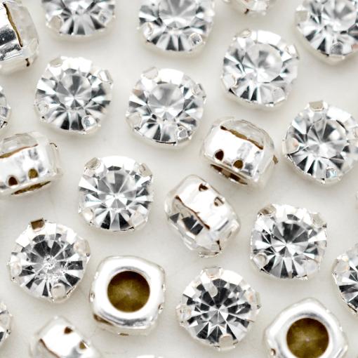Strass Engrampado para costura Supreme Cristal Níquel SS30 = 6,40mm 36 peças