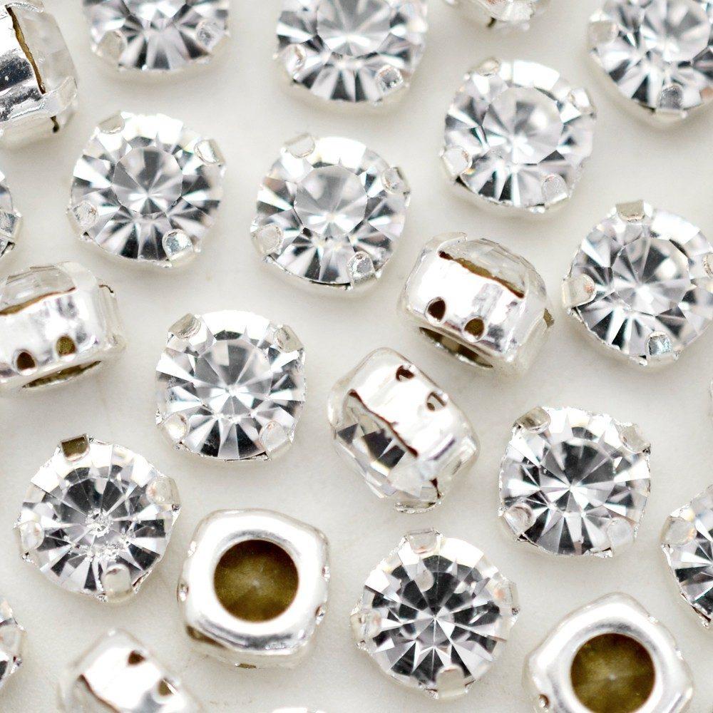 Strass Engrampado para costura Supreme Cristal Níquel SS34 = 7,00mm 24 peças