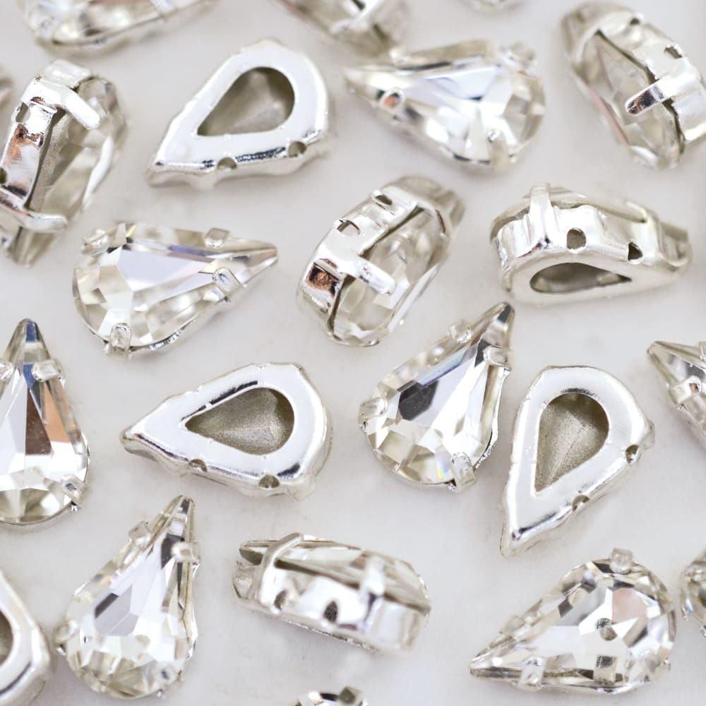Strass Gota Engrampado para costura Supreme Cristal Níquel 10x6mm 72 peças