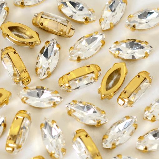 Strass Navete Engrampado para costura Supreme Cristal Dourado 10x5mm 72 peças