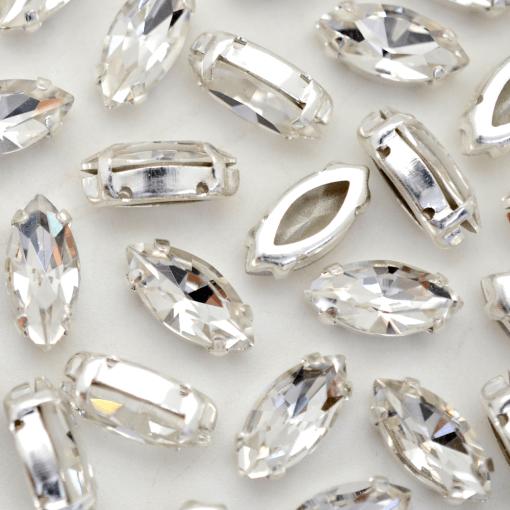 Strass Navete Engrampado para costura Supreme Cristal Níquel 15x7mm 42 peças