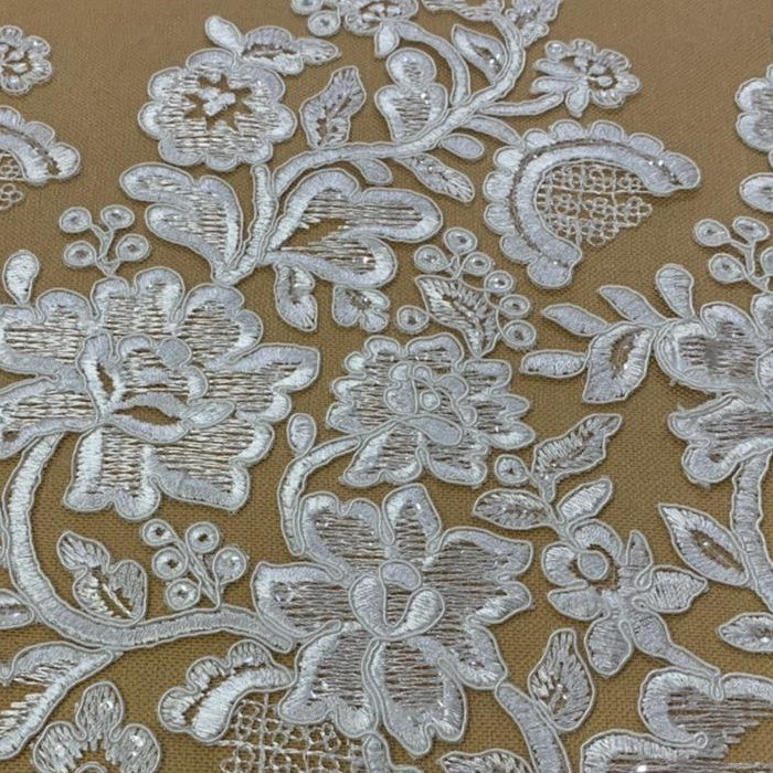 Tecido Renda Barrada Floral Com Paetê Off White