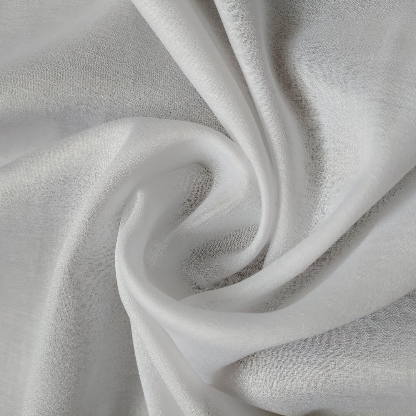 Tecido Cambraia Creponada de Algodão Branca