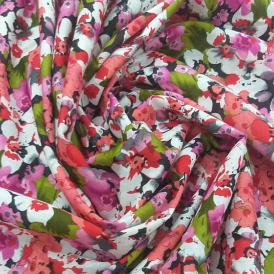 Tecido Cambraia de Algodão Floral tons de Rosa