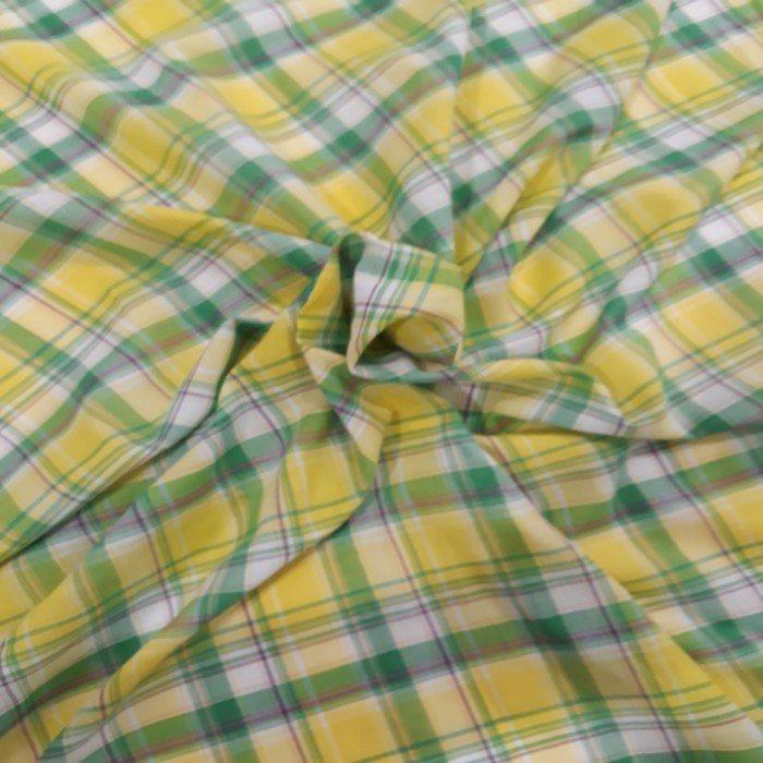 Tecido Cambraia de Algodão Xadrez Amarelo Verde
