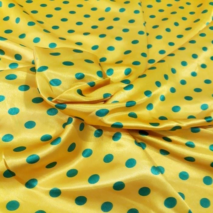 Tecido Cetim Amarelo Bola Verde