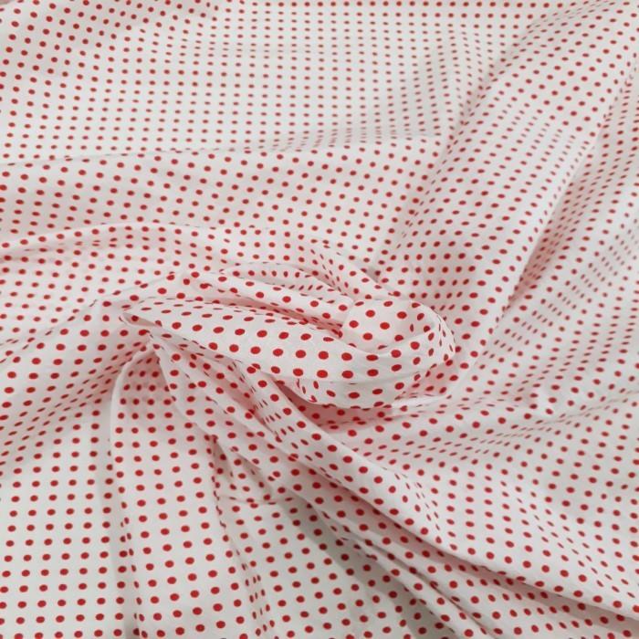 Tecido Cetim Branco Bola Vermelha