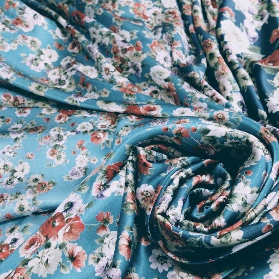 Tecido Cetim De Seda Estampado Floral Coleção Exclusiva