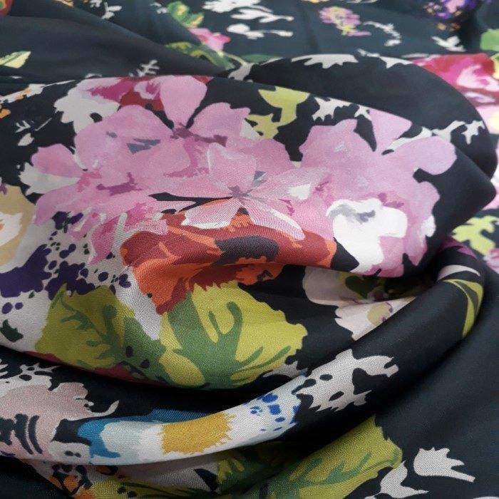 Tecido Cetim De Seda Pura Estampado Floral