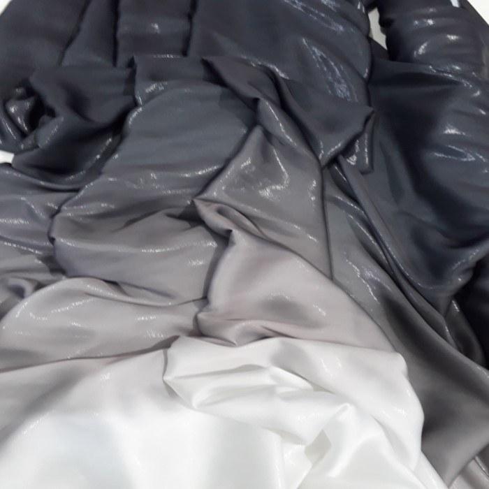 Tecido Cetim Toque de Seda Degrade Preto Ao Branco