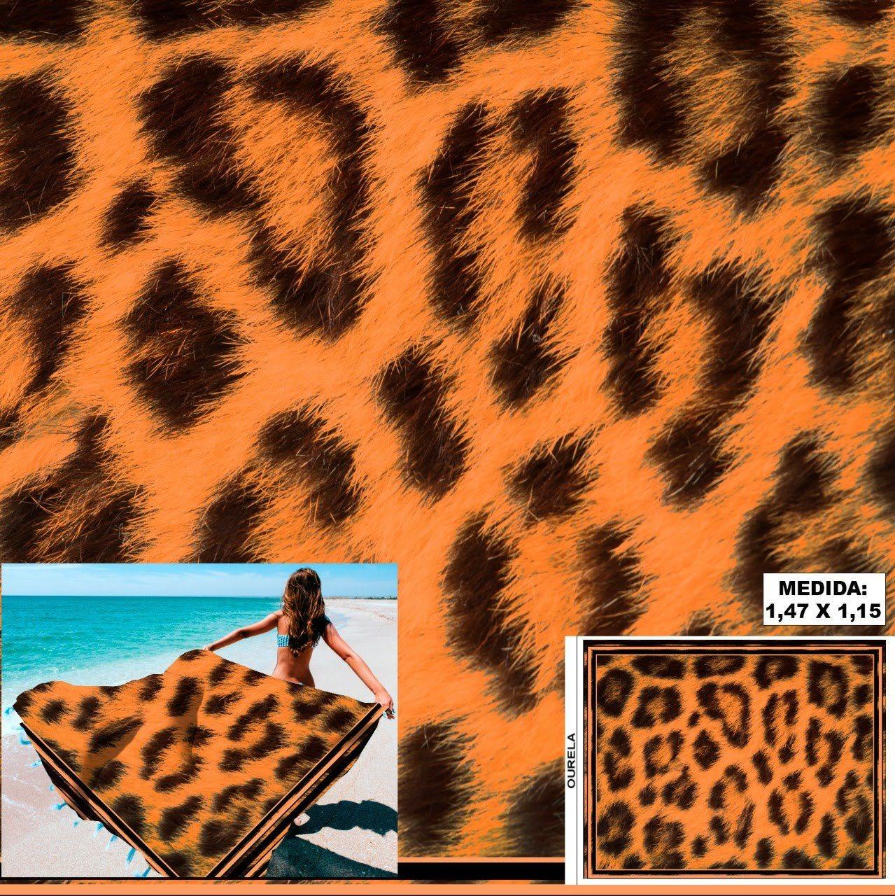 Tecido Cetim Toque de Seda Pareô Animal Print
