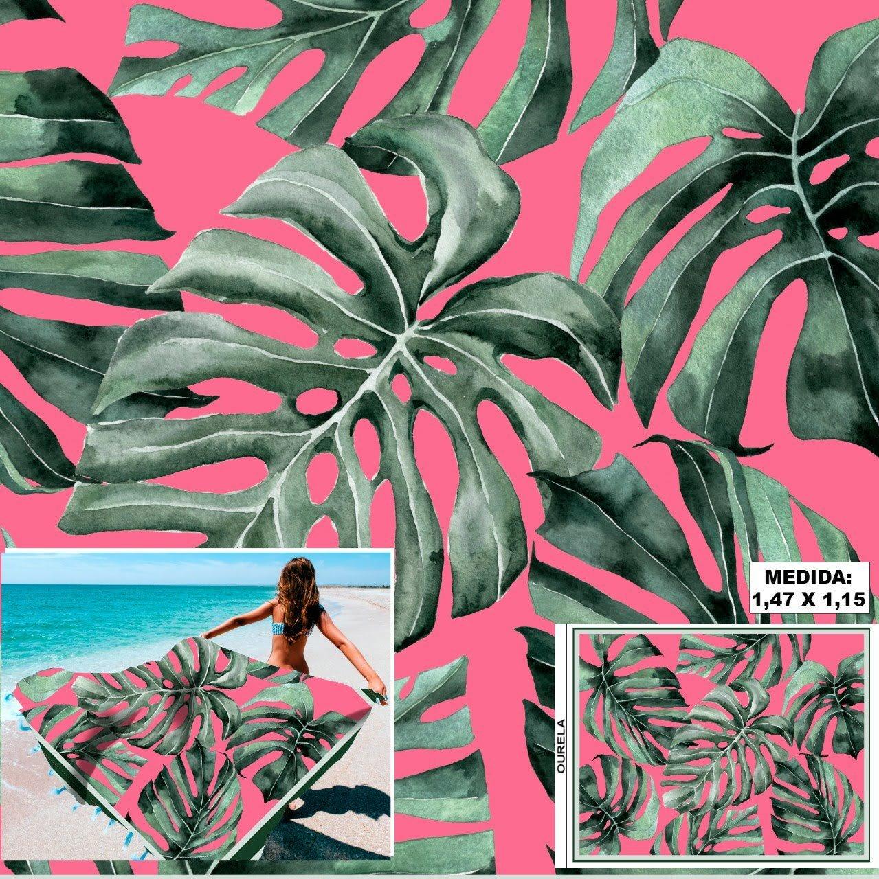 Tecido Cetim Toque de Seda Pareô Costela de Adão Fundo Pink