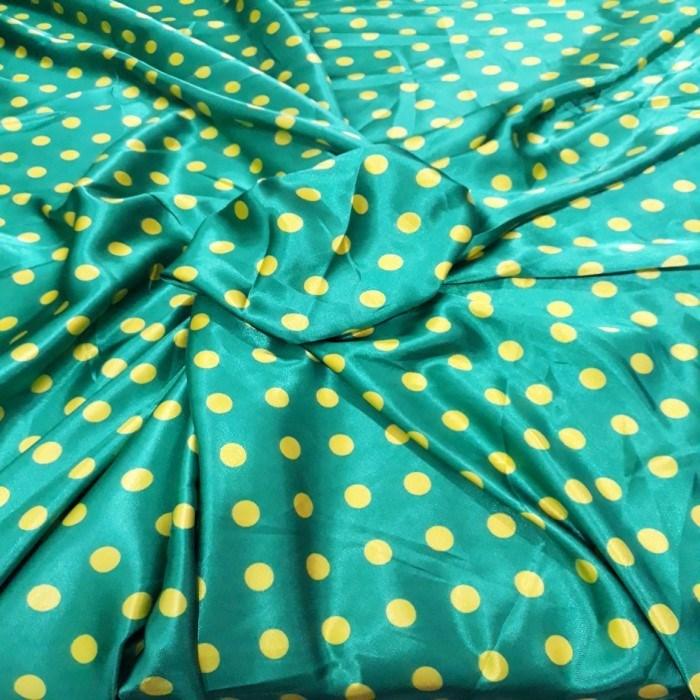 Tecido Cetim Verde bola Amarela