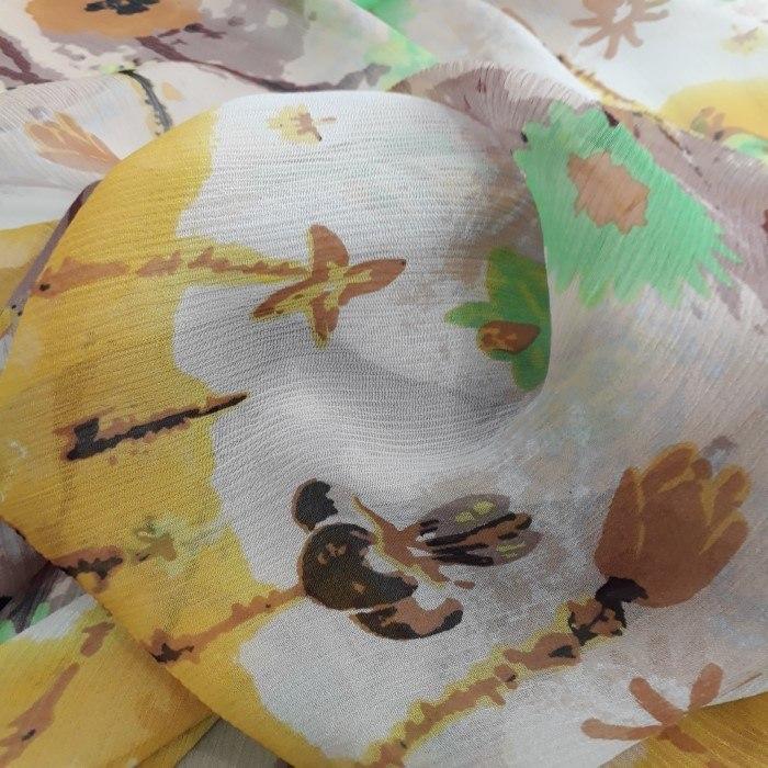 Tecido Chiffon Iury De Seda Pura Estampado Floral