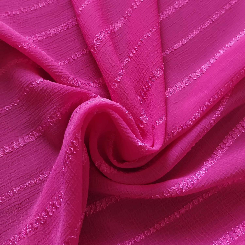 Tecido Chiffon Devorê Texturizado Pink