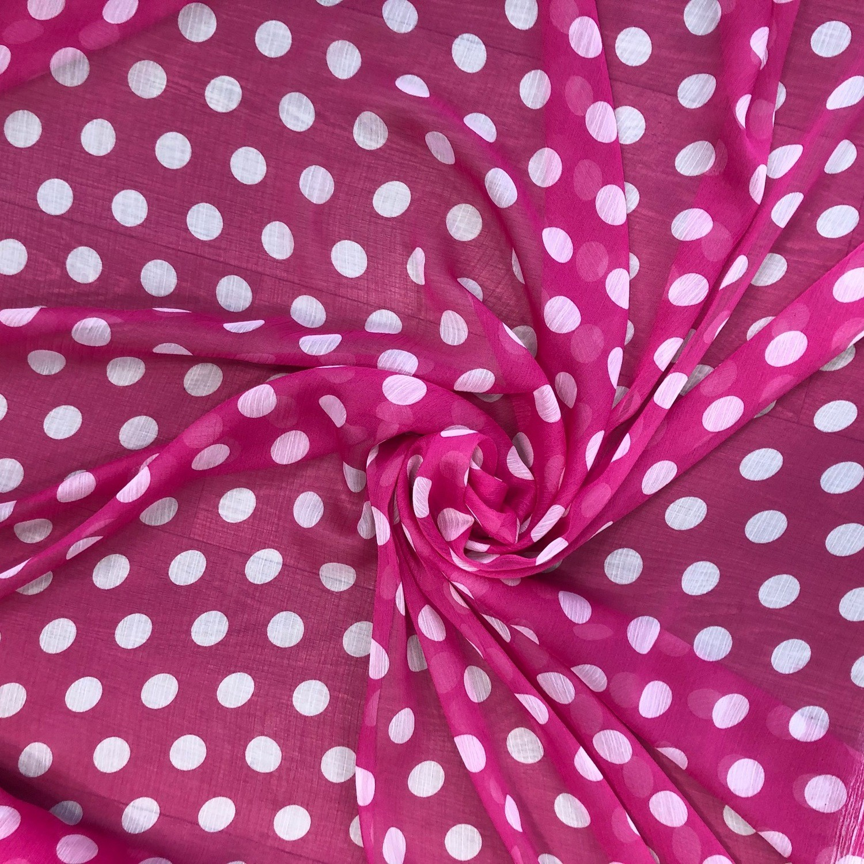 Tecido Chiffon Estampado Poá Pink/Branco