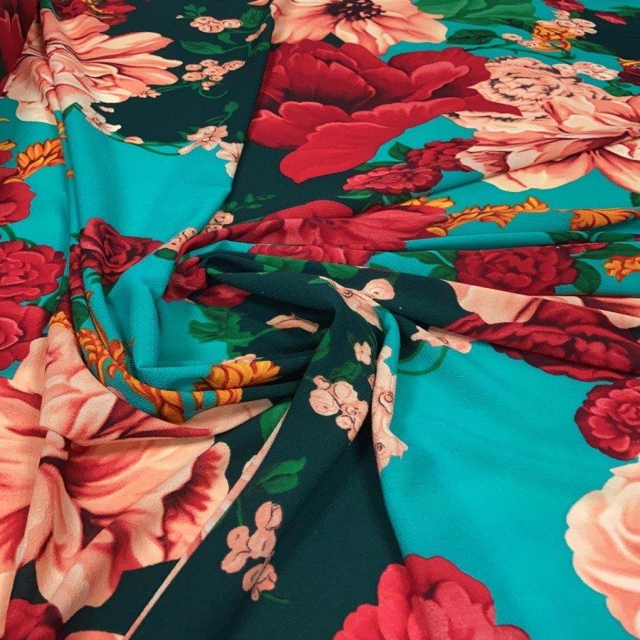 Tecido Crepe Burble Estampado Floral Fundo Tiffany com Elastano