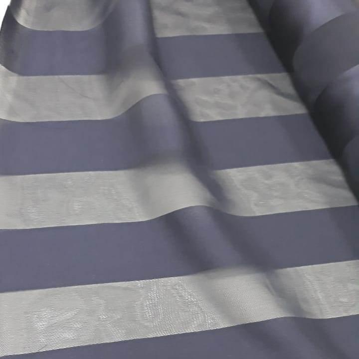 Tecido Crepe Chiffon com Listras Acetinadas Azul Marinho