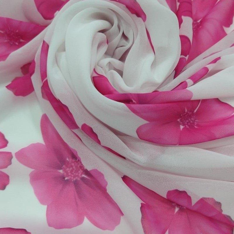 Tecido Crepe Chiffon Estampado Flores do Campo