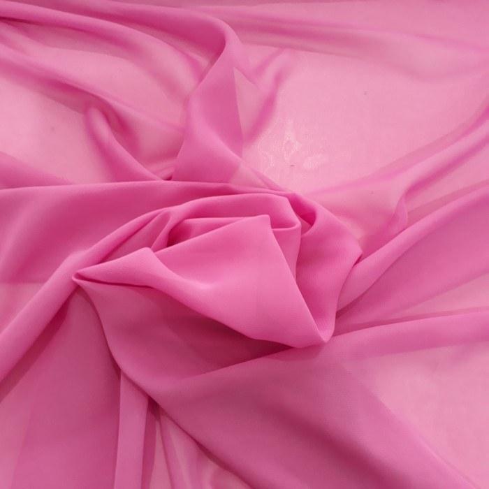 Tecido Crepe Chiffon Rosa Chiclete