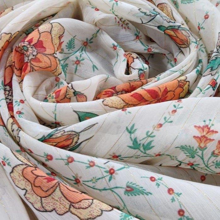 Tecido Crepe Chiffon Toque De Seda Branco Com Estampa Floral Tons Terrosos