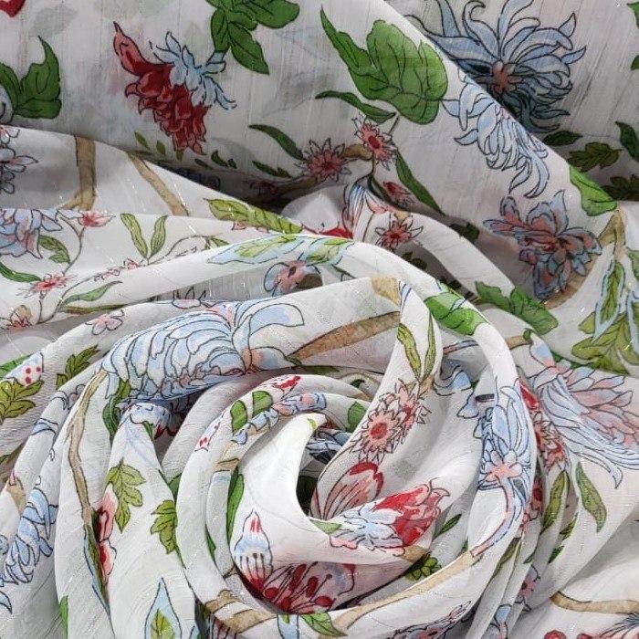 Tecido Crepe Chiffon Toque De Seda Branco Estampa Floral