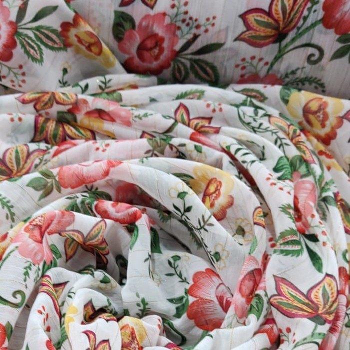 Tecido Crepe Chiffon Toque De Seda Estampa Branco Com Floral Clássico