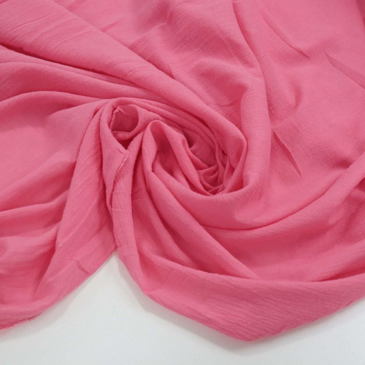 Tecido Crepe de Algodão Rosa Chiclete