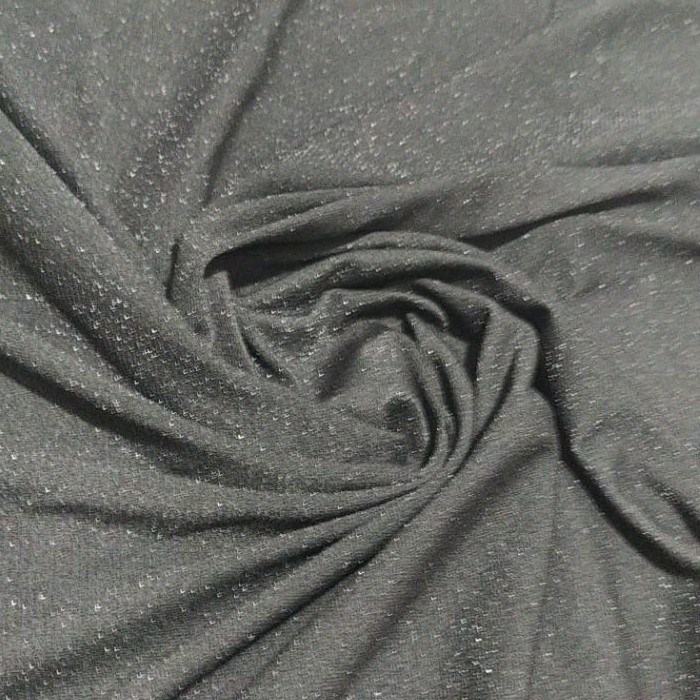 Tecido Crepe De Malha LurexPreto